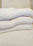 Чехол на угловой диван плюшевый, меховой, без оборки внизу, натяжные Venera Цвет Молочный, фото 3
