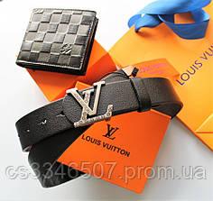 Чоловічий подарунковий набір - ремінь і гаманець Louis Vuitton black