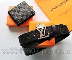 Мужской подарочный набор - кожаный ремень и кошелек Louis Vuitton black