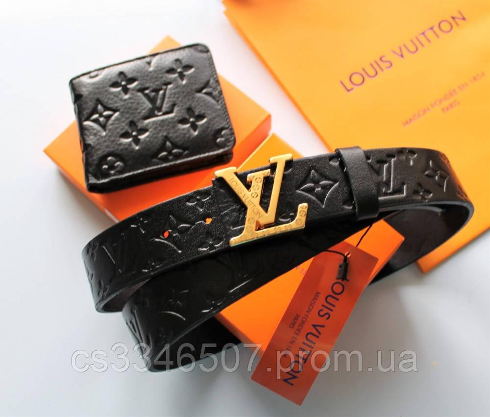 Мужской подарочный набор - ремень и кошелек с тиснением Louis Vuitton black