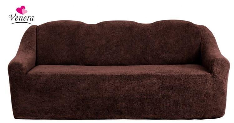 Чехол на диван с подлокотниками, без оборки, меховой, плюшевый, натяжной, большого размера Venera Коричневый