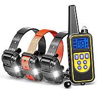 Электроошейник для дрессировки собак Pet DTC-800, с 3-мя ошейниками для 3-х собак, водонепроницаемый