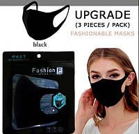 Маска защитная, многоразовая, тканевая, чёрная Fashion Mask