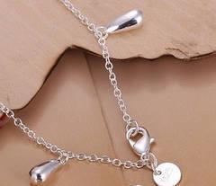 """Браслет цепочка на руку женский с подвесками покрытие стерлинговое серебро 925 """"Капельки"""", фото 2"""