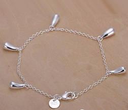 """Браслет цепочка на руку женский с подвесками покрытие стерлинговое серебро 925 """"Капельки"""", фото 3"""