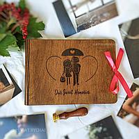 Деревянный фотоальбом для любимых   Оригинальный подарок для влюбленных, фотоальбом на годовщину