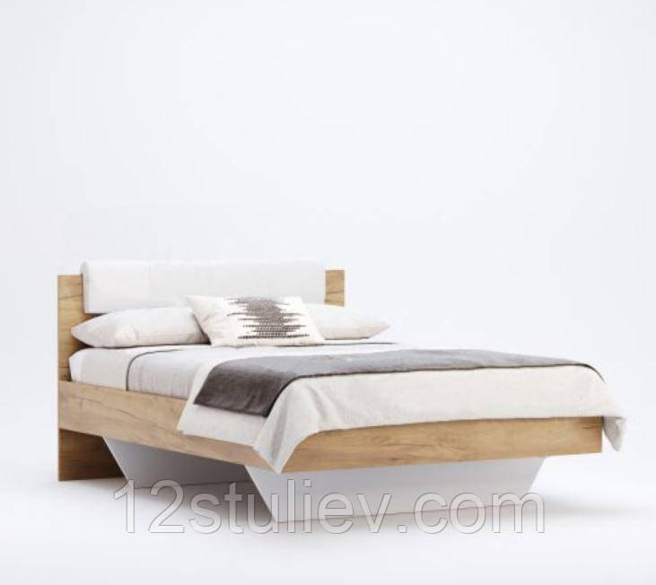 Кровать  Асти 1,6х2,0 Мягкая спинка Дуб крафт/Белый глянец