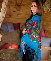 Украинский платок большого размера (125х125см, голубой, 100%-акрил), фото 1