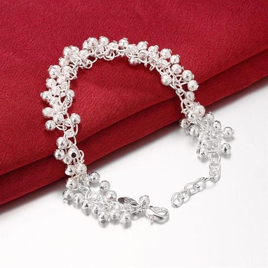"""Красивый женский браслет на руку покрытие серебро 925 """"Матовые гроздья"""""""