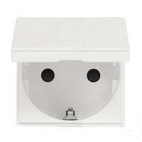 Розетка с заземлением и шторками и крышкой, белый цвет Zenit ABB NIESSEN N2288.1 BL, 2 модуля