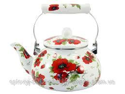 Чайник эмалированный  с керамической ручкой 2,5 л Маковый Zauberg   9/L