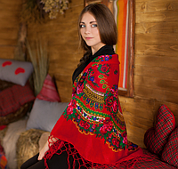 Украинская красивая хустка (120х120см, красный, 100%-акрил), фото 1