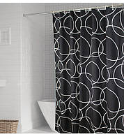 Черно-белая шторка для ванной и душа Black & white