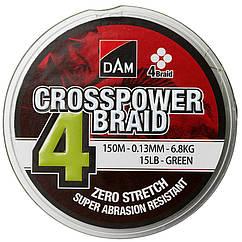 Шнур DAM Crosspower 4-Braid 150м 0.15мм 8.1кг (зеленый)   !!!УЦЕНКА!!!