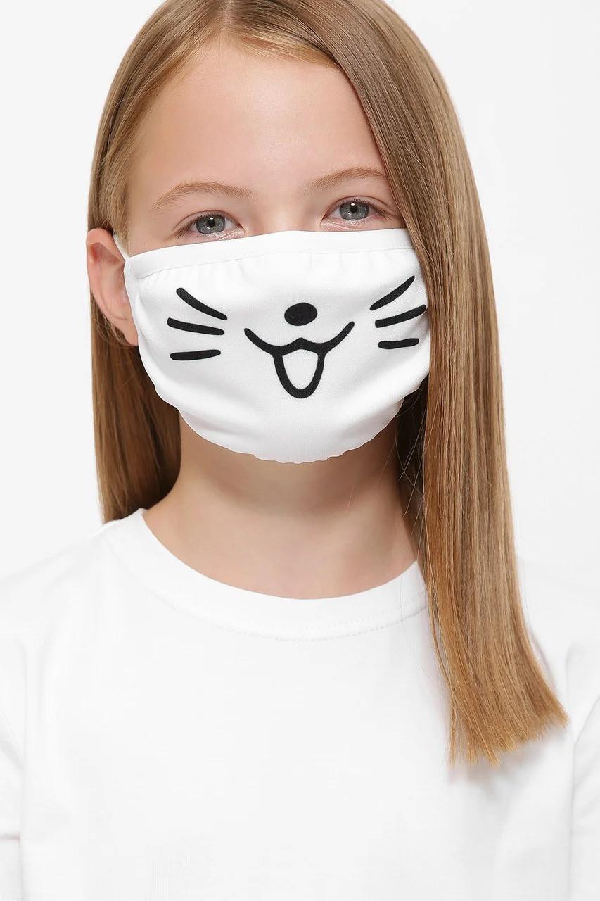 Защитная маска для лица белая Мордочка Кошки (женская,детская,мужская)