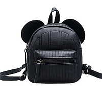 Женский черный рюкзак, рюкзак микки, рюкзак из эко-кожи с ушками СС-7456-10