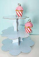 Подставка для торта 3-х ярусная картон.голубой горошек(код 01821)