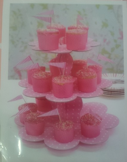 Подставка для торта 3-х ярусная картон.розовый горошек(код 01822)