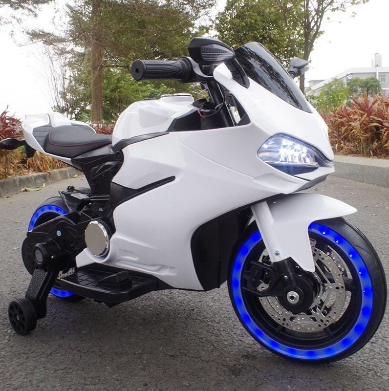 Детский электромобиль Мотоцикл M 4104 EL-1, EVA колеса, LED подсветка, белый