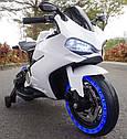 Детский электромобиль Мотоцикл M 4104 EL-1, EVA колеса, LED подсветка, белый, фото 3