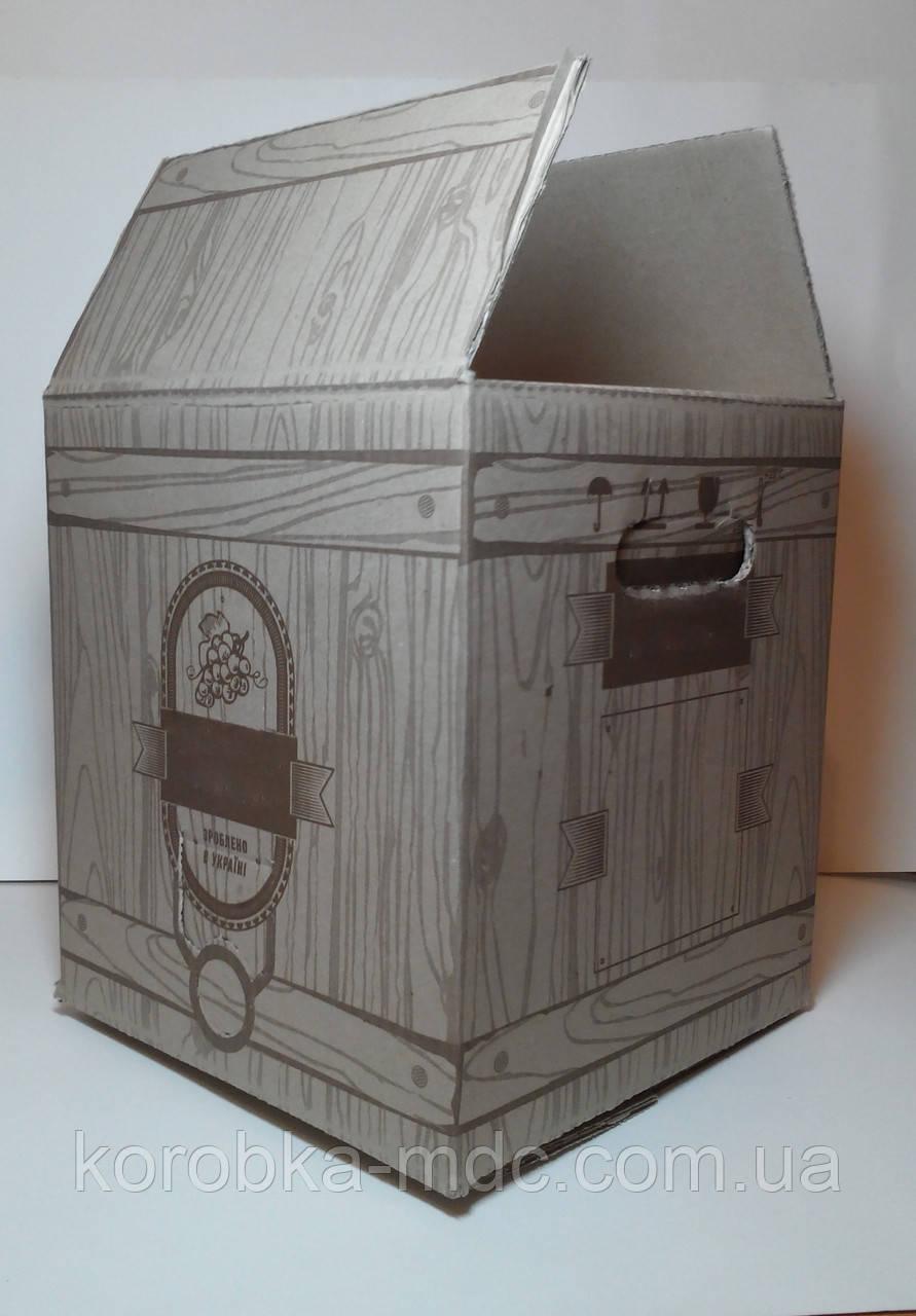 Коробка бурая bag in box 10L (КУБ) печать 1 цвет (по заказу клиента)