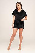 Плюшевая черная пижама футболка и шорты, фото 2