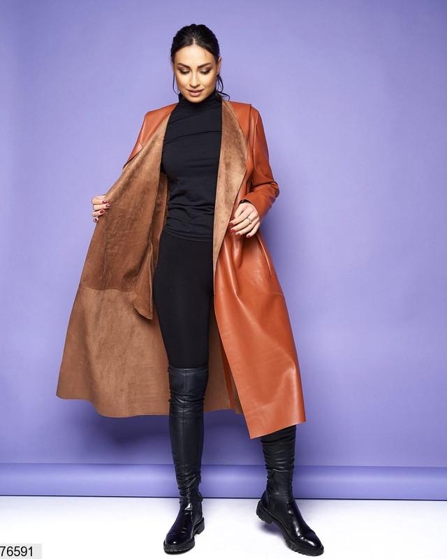 Пальто жіноче без застібки з еко-шкіри весна розміри: 46-56