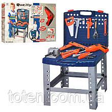 Дитячий стіл Майстра з набором інструментів, окуляри, дриль (працює на батарейках), пила, 57 деталей 008-22