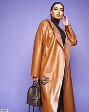 Пальто жіноче без застібки з еко-шкіри весна розміри: 46-56, фото 2