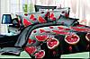 """Семейное постельное белье евро-размер с двумя пододеяльниками (15026) хлопок """"Ранфорс"""""""