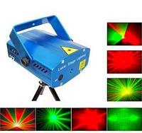 Лазерный диско проектор стробоскоп лазер светомузыка 3 режима, микрофон, регулировки, фото 1