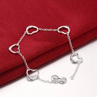 """Женский браслет цепочка на руку с сердечками покрытие серебро 925 """"Открытые сердца"""", фото 2"""