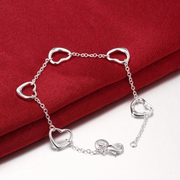 """Женский браслет цепочка на руку с сердечками покрытие серебро 925 """"Открытые сердца"""""""