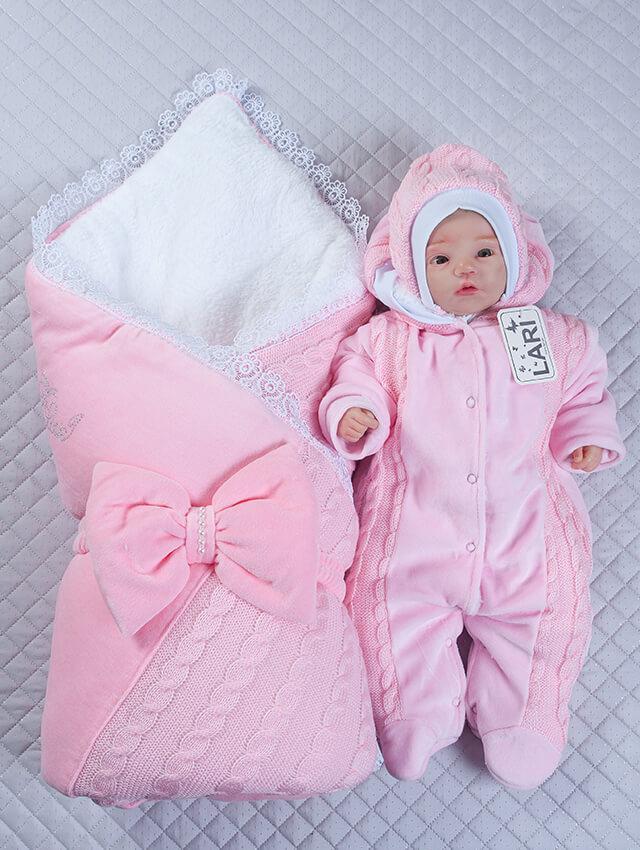 Зимний комплект на выписку для новорожденного вязаный набор Дуэт розовый