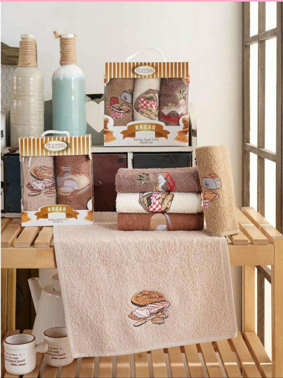 Набір Новорічних Рушників Для Кухні в Коробці 3 ка На Подарунок Бавовна Махрові Туреччина Gulcan