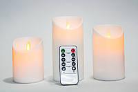 Электронные лед свечи на батарейках, светодиодные свечки с имитацией пламени, 3 шт. (BJ 541-R), фото 1