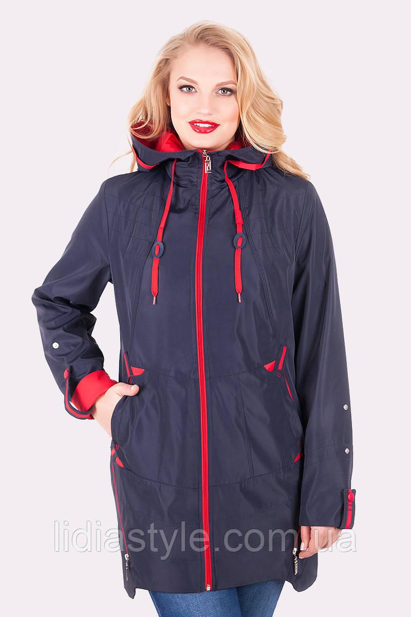 Женская куртка синяя большие размеры