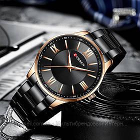 Оригинальные мужские часы стальной ремешок  Curren 8383 Black-Gold