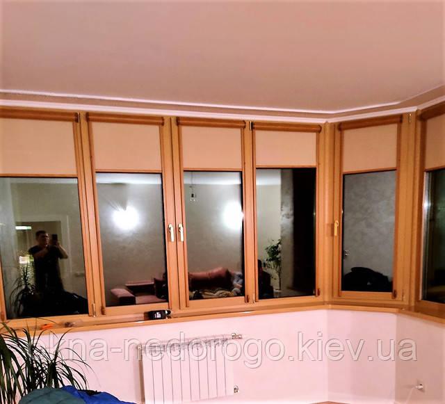 Тканевые ролеты на окна в эркере фото Окна Недорого