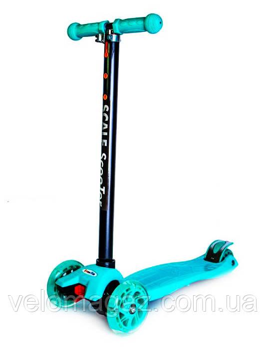 Детский самокат MAXI, светящиеся колеса, бирюзовый цвет