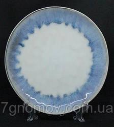 Набор 6 больших обеденных керамических тарелок белых с фиолетовым Лаванда 27 см