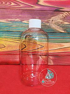 Флакон прозрачный пластиковый 350 мл комплект (белая крышка+пробка) 24/410