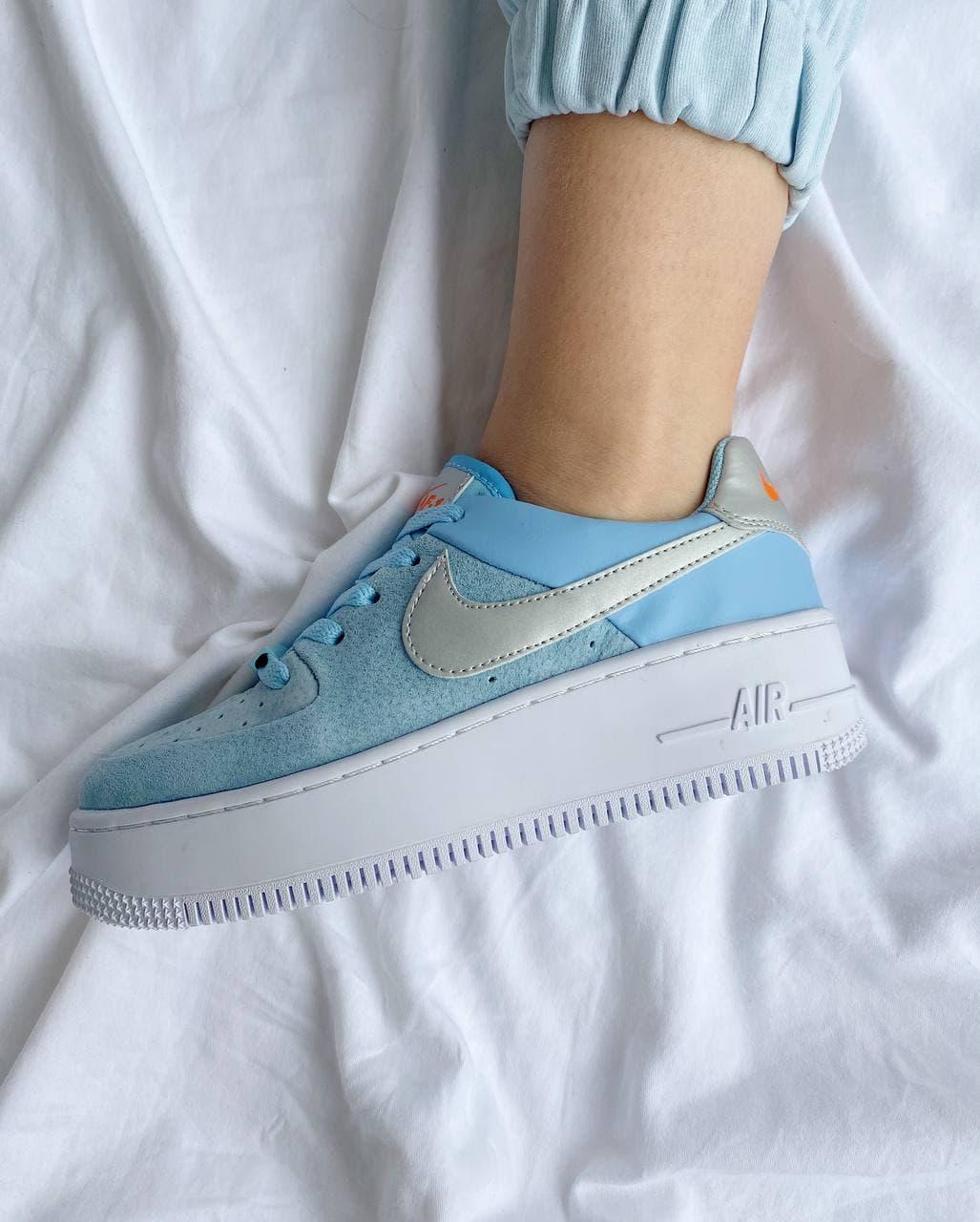 """Кроссовки Nike Air Force 1 White blue """"Голубые/Белые"""""""
