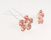 """Шпилька для волос """"Персиковый цветок из страз"""" ø 20мм (цена за одну штуку)"""