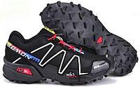 Кроссовки мужские демисезонные в стиле Salomon Speedcross черные с белым/красные