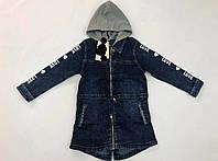 Джинсова куртка кардиган подовжена з капюшоном для дівчинки