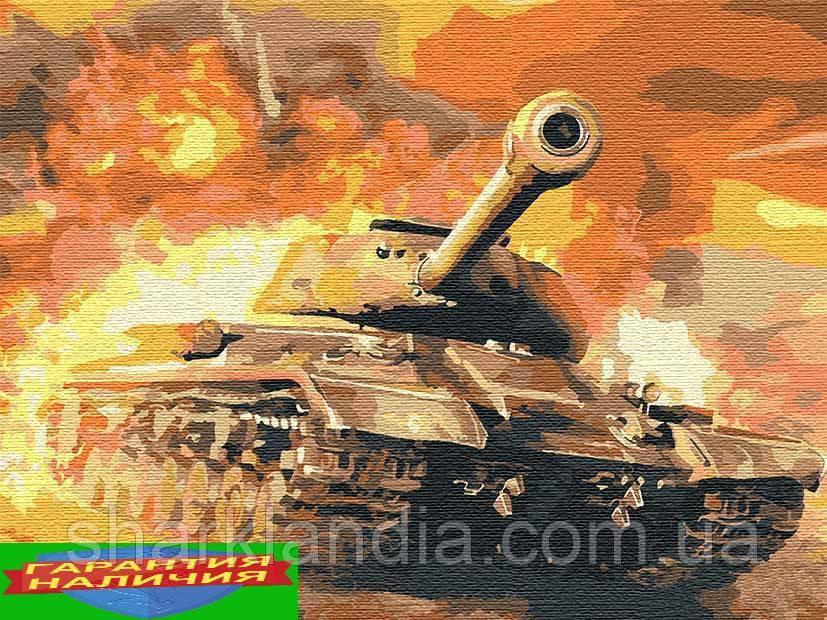Картина по номерам Танк Т34 +ЛАК 40*50см Барви World of Tanks WoT Мир танков Panzer транспорт техника