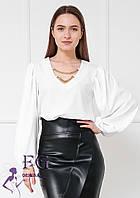 Женская белая блузка с пышным рукавом