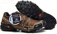 Кроссовки мужские демисезонные в стиле Salomon Speedcross коричневые