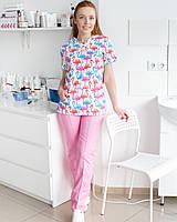 Медицинский женский костюм Топаз принт Фламинго цветные, фото 1